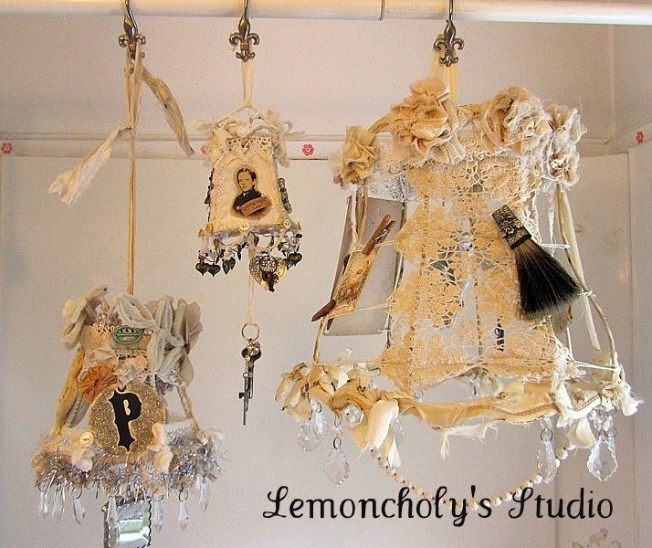 inspiring workshop samples are from Kecia at Lemoncholy.: Workshop, Lamps Shades, Altered Lampshades, Inspiration Lampshades, Shabby Crafts Diy, Secret Inspiration, Lampshades Inspiration, Bohemian Romances, Chand Shades