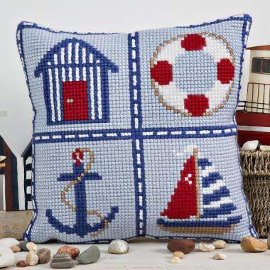 Nautical cross stitch cushion