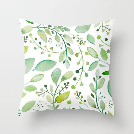 watercolor foliage Throw Pillow