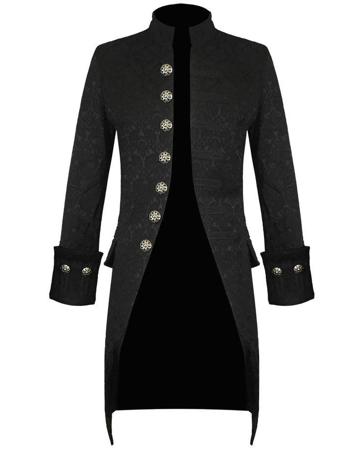 Pentagramme Herren Jacke Schwarz Brokat Gothic Steampunk Viktorianisch Frack