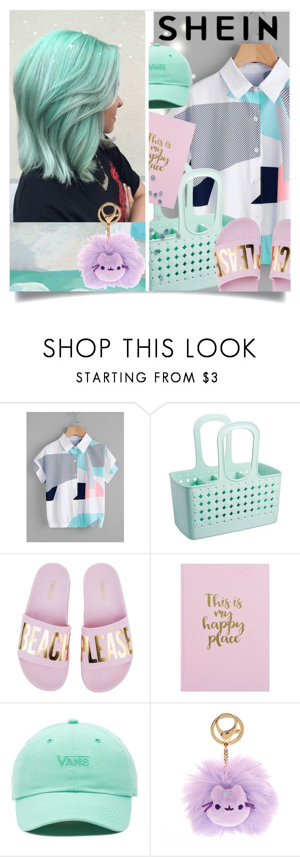 """""""Abstract geo print shirt"""" by design-it-look ❤ liked on Polyvore featuring Vans, JuJu, Pusheen, trend and shein"""