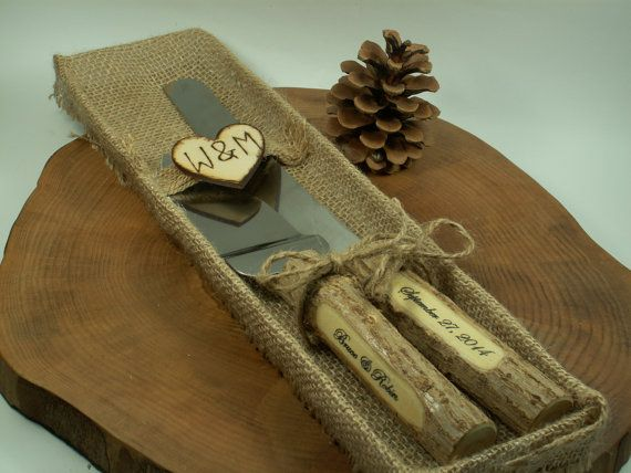 Rustic Wedding Cake Rustic Country Chic by woodenartgallery, $39.00This is our cake cutting set. We love this one. yay! another decision!