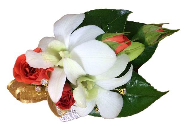 Fresh flower orange spray roses & white orchid wrist corsage  https://bloominboxes.com.au/wrist-corsage-orange