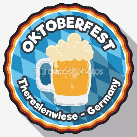 Round Button with Frothy Beer for Oktoberfest in Flat Style, Vector Illustration — Stock Illustration #124502496