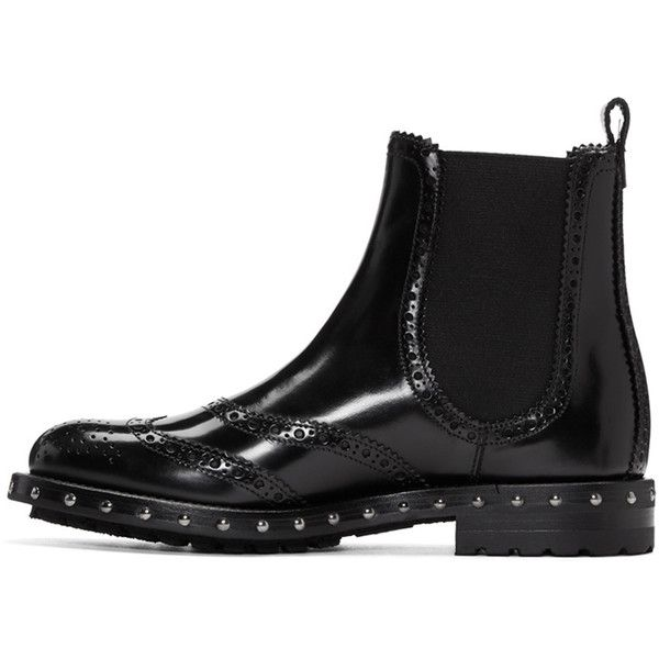 Dolce and Gabbana Black Brogue Boots ($1,145) ❤ liked on Polyvore featuring shoes, boots, ankle booties, studded ankle boots, short boots, black booties, round toe ankle boots and black studded booties