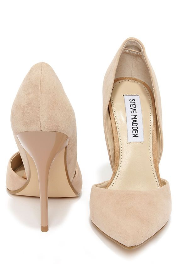 If you thought low-cut was for necklines, think again! The Steve Madden Varcityy Blush Suede Leather D'Orsay Pumps have a fabulous nude suede upper that dips into sizzling d'Orsay cutouts on both sides. Pointed toe.