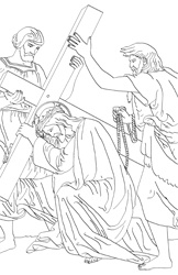 Stations of the Cross and rosary coloring pages.
