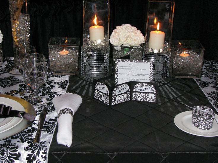 black and white and bling table setting | Black pintuck taffeta table covering with black & white damask runners ...