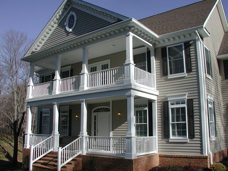 Finished two story porch the murry residence pinterest for Front porch designs for two story houses