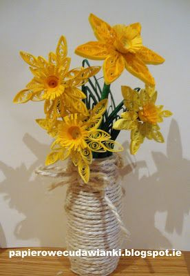DIY: How do daffodils and leaves, method quillingu