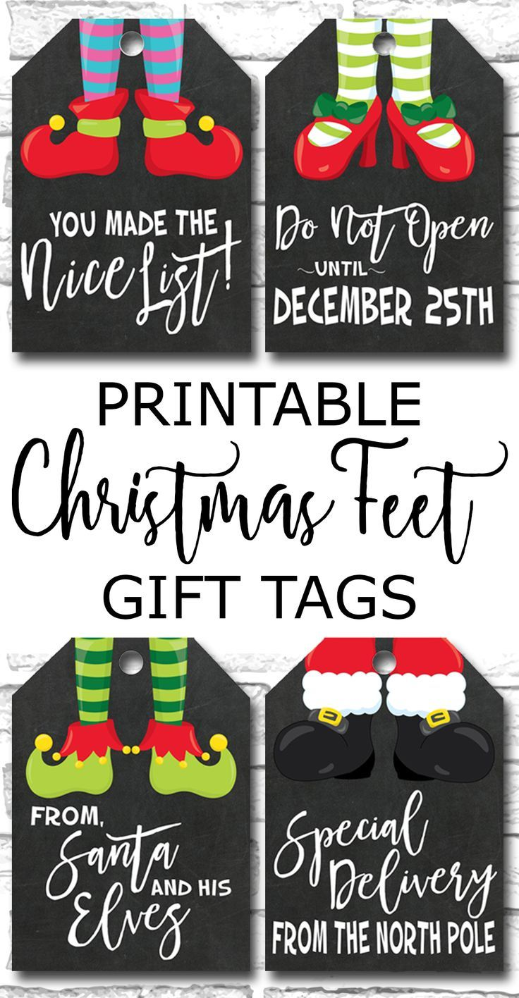 25 unique christmas gift tags printable ideas on pinterest free printable christmas feet chalkboard gift tags elf feet santa feet https negle Image collections