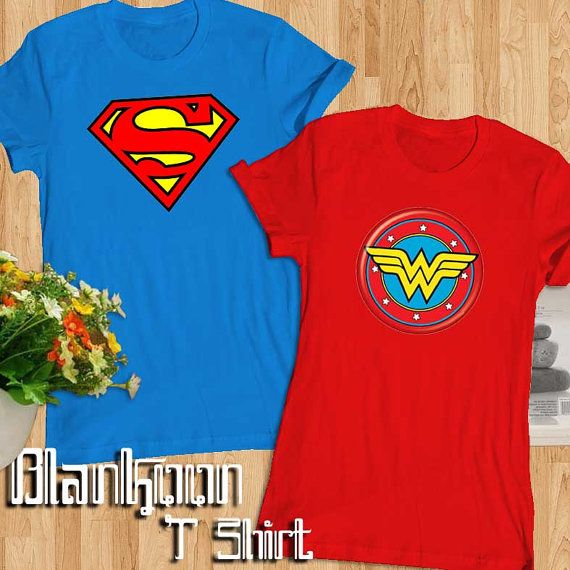 Superman And Wonder Women Couple T Shirt/Men T by Blankoon on Etsy