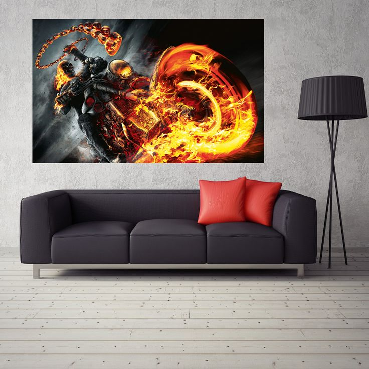 Ghost Rider Motorcycle Movie Posters Waterproof Decorated Bedroom Poster For Wall Decor Silk Fabric Poster 24x36inch