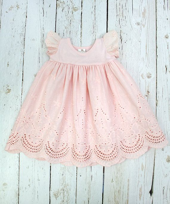 Baby Girl Eyelet Dress Soft Coral, SALE!, Cotton Flutter Sleeve Dress, Summer Baby Dress, Eyelet Dress, Baby Dress Peach Pink