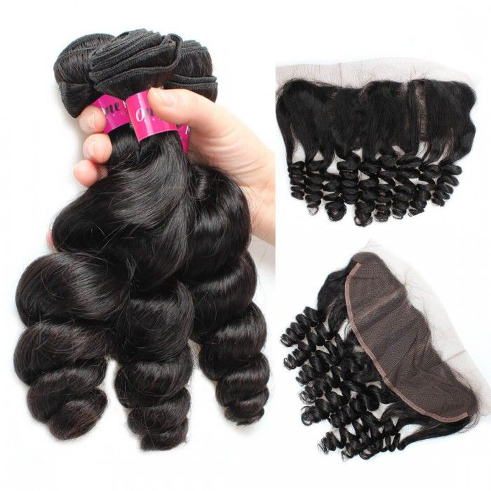 Virgin Hair Malaysian Loose Wave 3 Bundles With 13x4 Frontal Loose