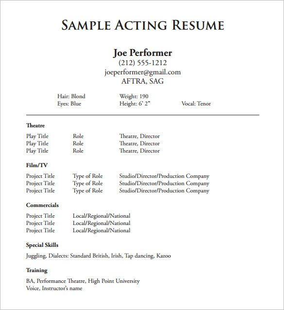 Resume Templates Acting Resume Templates Acting Resume Template Acting Resume Sample Resume Templates