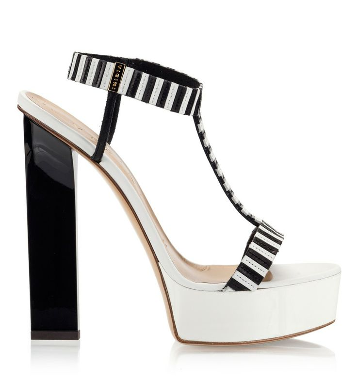 Vicini Black and white nappa leather high heel platform sandals #sandals #vicini #vicinishoes #GiuseppeZanotti #BW