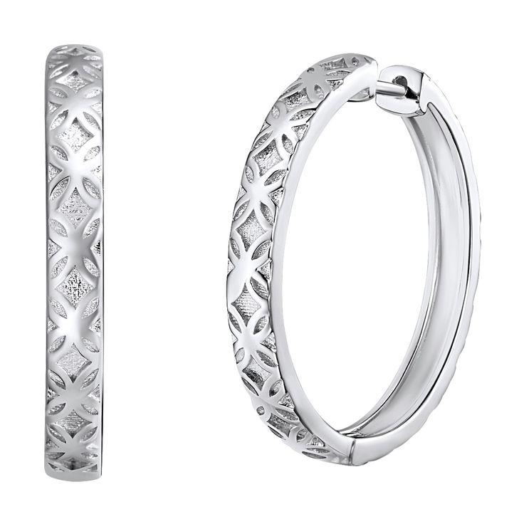 Cercei creole Nahla Jewels argint motiv floral