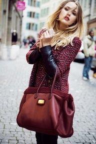 burgundy leather bag...love w/sweater