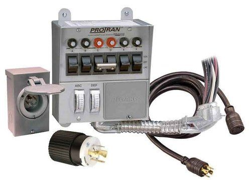 Reliance Controls 31406CRK Pro/Tran 6-Circuit 30 Amp Generator Transfer Switch Kit With Transfer Switch, 10-Foot Power Cord, And Power Inlet Box For Up To 7,500-Watt Generators RELIANCE CONTROLS.
