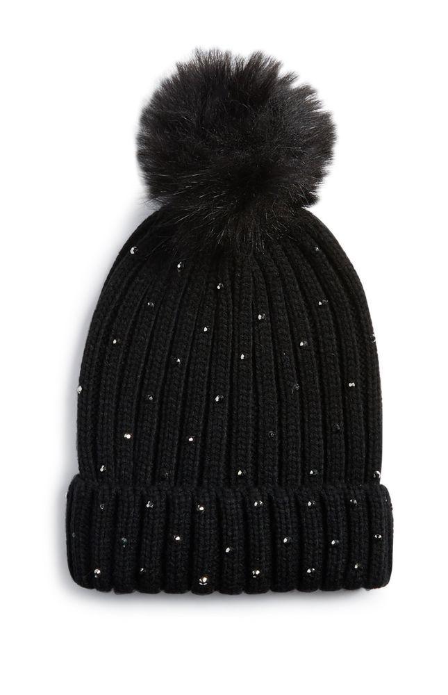 59989e62b New Primark Womens Warm Black Embellished Beanie Fur Pom Hat Winter ...