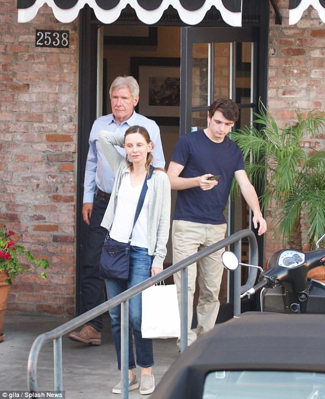 Family function: Harrison Ford went out to dinner with his third wife Calista Flockhart and 16-year-old son Liam in Los Angeles on Wednesday
