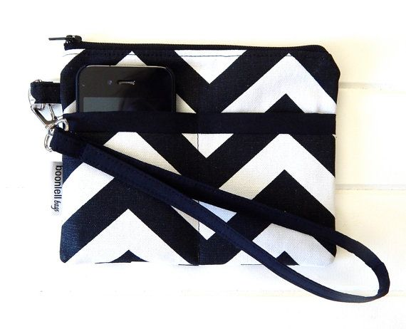 Wristlet Pouch Purse Handmade with Black and White Chevron Fabric