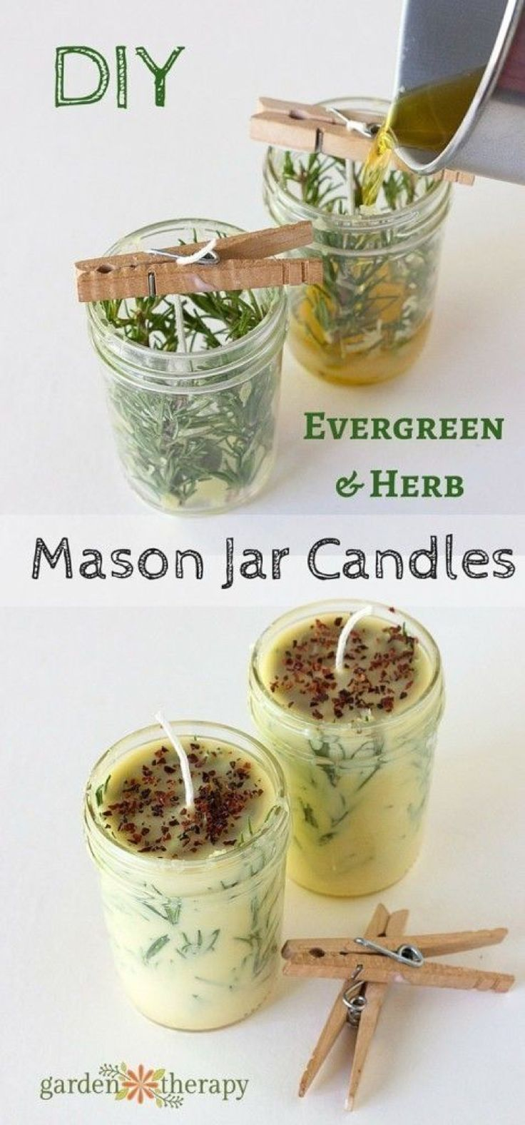 DIY Evergreen and Herb Scented Mason Jar Candles tealight refill wax close pin hold wick
