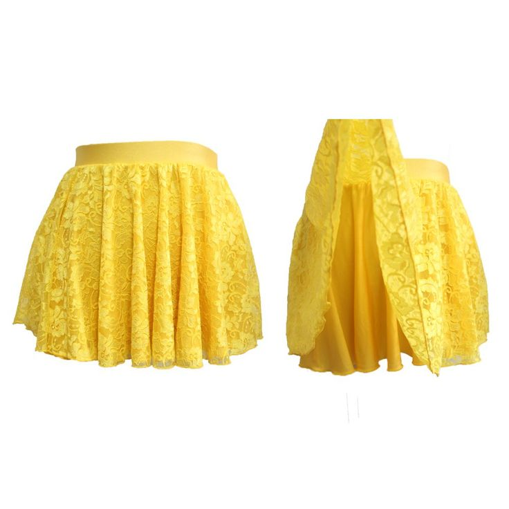 Dancer's Choices Yellow Nylon/Lycra and Lace 2 Layers Pull-on Skirts for Ladies and Girls Ballet Latin Dance #Affiliate #balletskirt