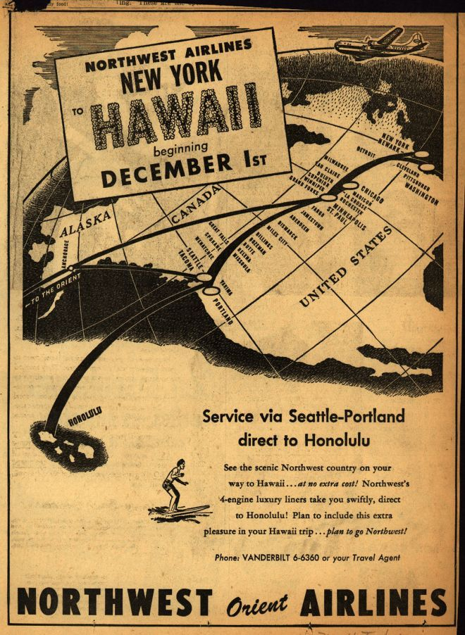 Northwest Airline's Hawaii – NORTHWEST AIRLINES NEW YORK TO HAWAII BEGINNING DECEMBER 1st (1948)