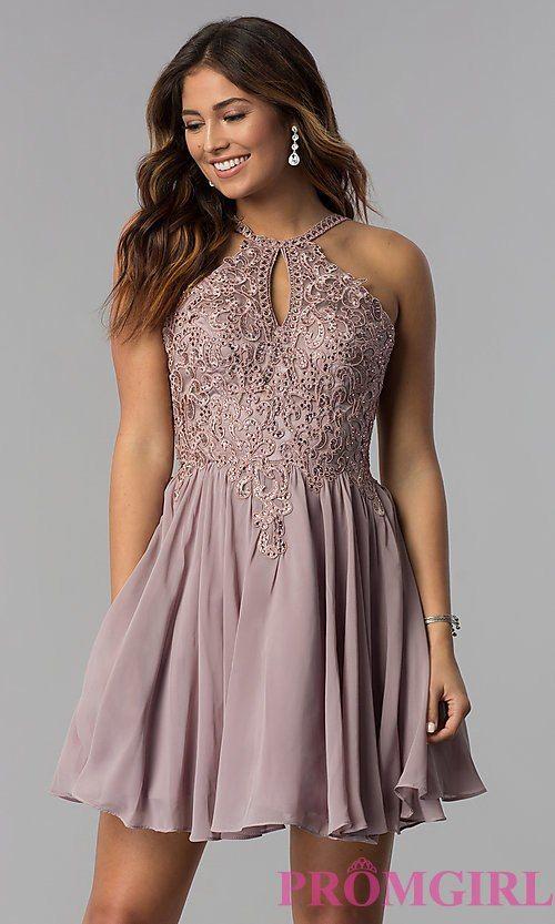 5bfdb58d9a Short High-Keyhole-Bodice Homecoming Dress