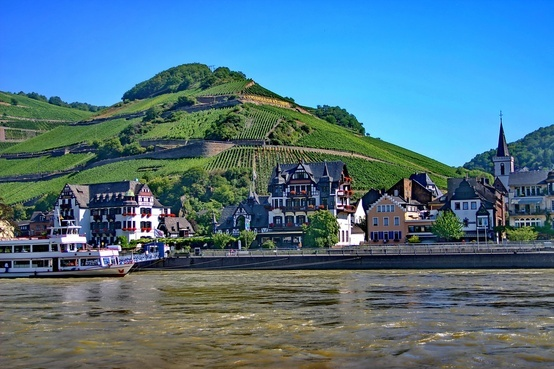The scenic Rhine Valley train line in Germany runs between Koblenz and Mainz and offers views like these. If your #Eurail pass is valid for Germany, you can also use it on this track!: Europe, Eurail Pass, Valley Training, Offering View, Charms Riverside, Rhine Valley, German Wine, Valley Route, Charms Town