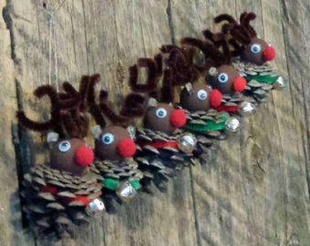 Rentier Rudolph rote Nase Kiefer Kegel-Ornamente Weihnachtsschmuck Pine Co  Chri…