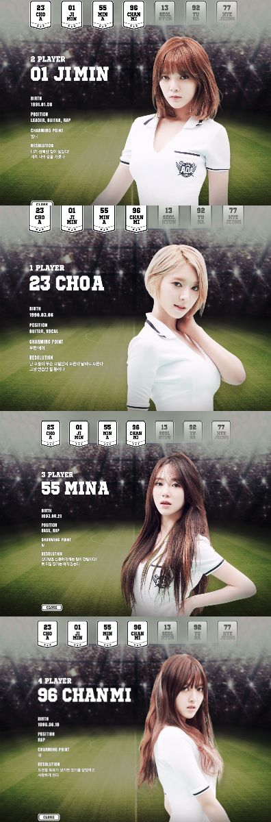 "Team AOA Presents Starting Lineup with Player Card Teaser Images for ""Heart Attack"""