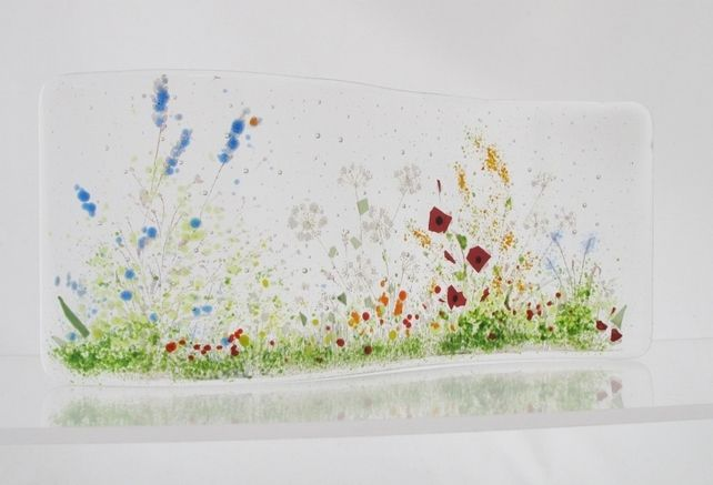 Fused glass Curve - Poppy meadow £35.00