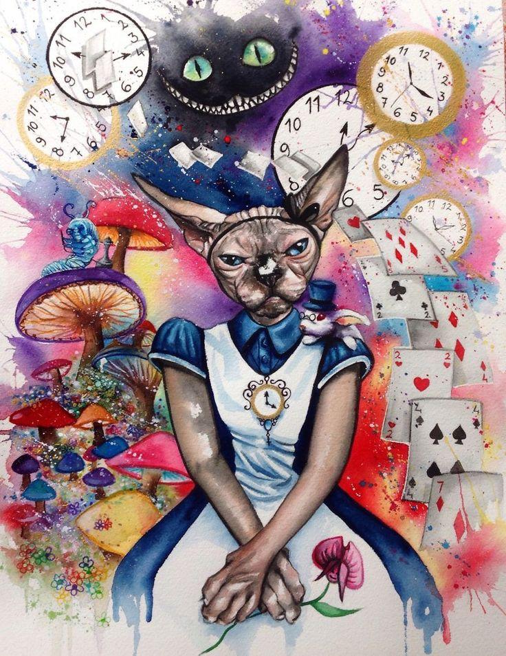 психоделическая картинка человека с котом