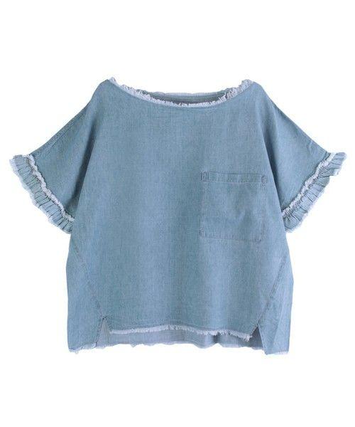 ur's(ユアーズ)のテンセルデニムフリルプルオーバー(Tシャツ/カットソー)|サックスブルー