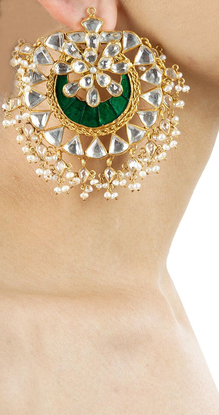 Emerald chandbali earrings available only at Pernia's Pop-Up Shop.