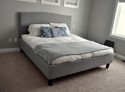 DIY Crate and Barrel Colette Upholstered Bed: Diy Bedframe, Crafts Ideas, Bedrooms Colors, Master Bedrooms, Platform Beds, Diy Beds Frames, Diy Projects, Bedframe Tutorials, Upholstered Beds