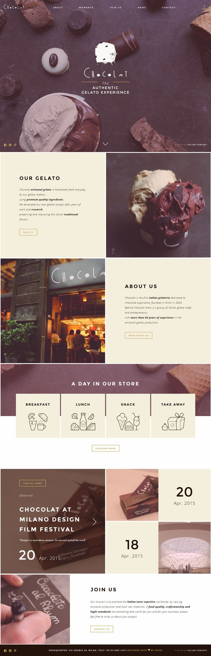 Collage inspired website with cute icons and love the photography editing and colour palette - Chocolat, creative shop design #webdesign #websitedesign