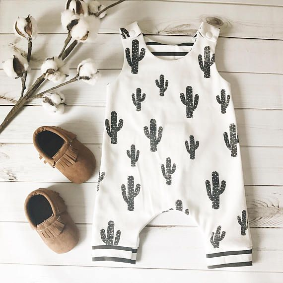 Organic Baby Harem Romper - Cactus; Summer Romper, Baby Boy, Unisex, Bear Romper, Organic Baby Clothes, Going Home Outfit