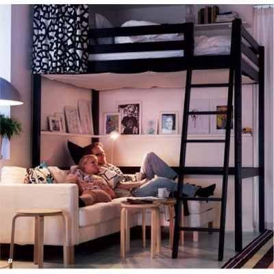 Cama alta loft puente de hierro ideal espacios peque os - Camas para espacios pequenos ...