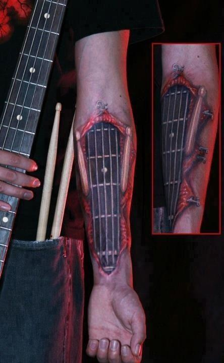 guitar tattoo guitar neck strings frets forearm rock and roll metal punk music hardcore. Black Bedroom Furniture Sets. Home Design Ideas