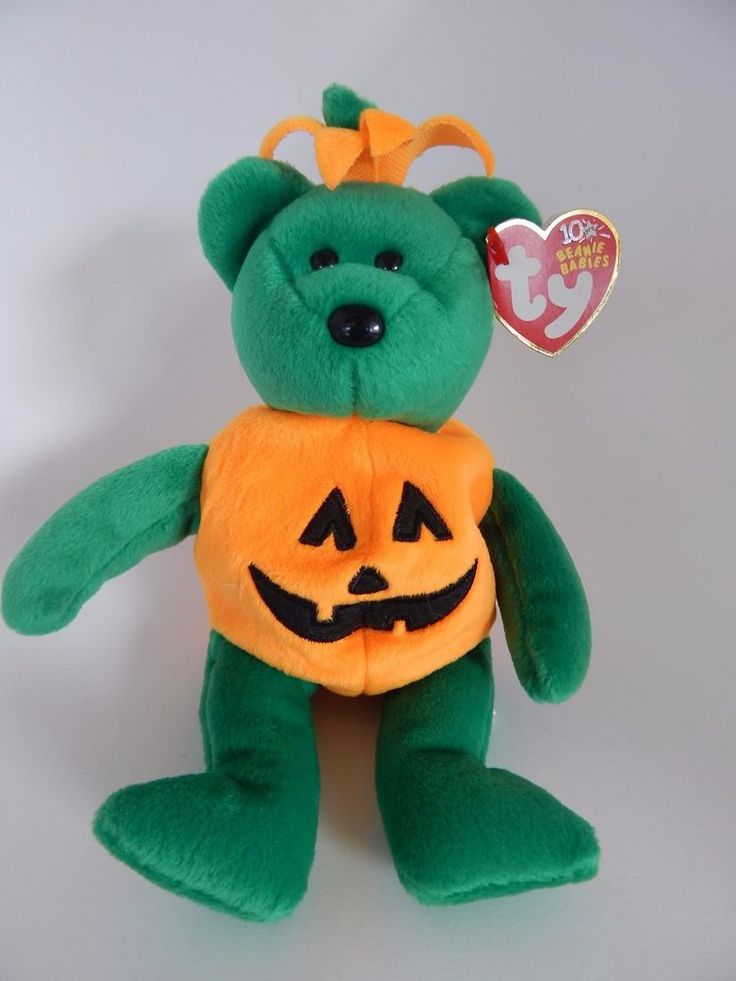 Tricky Ty Beanie Baby Bear in Pumpkin Outfit 2002 Retired With Tags #Ty