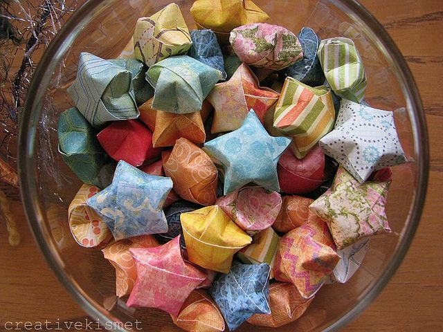 origami stars by Regina (creative kismet), each has a wish or a saying inside