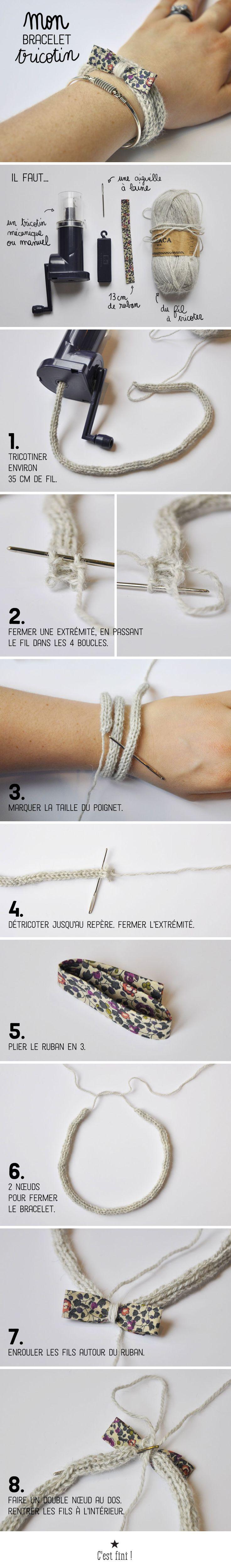 tuto bracelet tricotin
