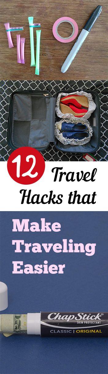 12 Travel Hacks that Make Traveling Easier. Tips, tricks, hacks, shopping hacks, money hacks, cleaning, life hacks, life tips.