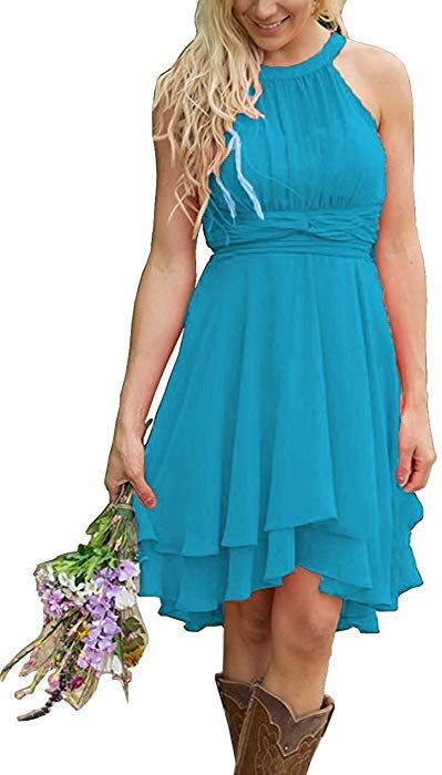 ab35c2a86095 Meledy Women s Knee Length Country Bridesmaid Dresses Western Wedding Guest  Dresses Short Maid of Honor Gown Royal Blue US06 at Amazon Women s Clothing  ...