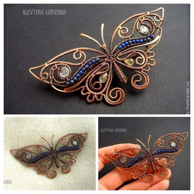 celtic wire jewelry tutorial | Wire Wrapped Copper Butterfly Pendant