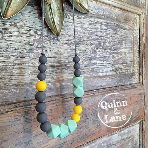 Silicone Teething Necklace CHOOSE COLOR  Bite by QuinnAndLane